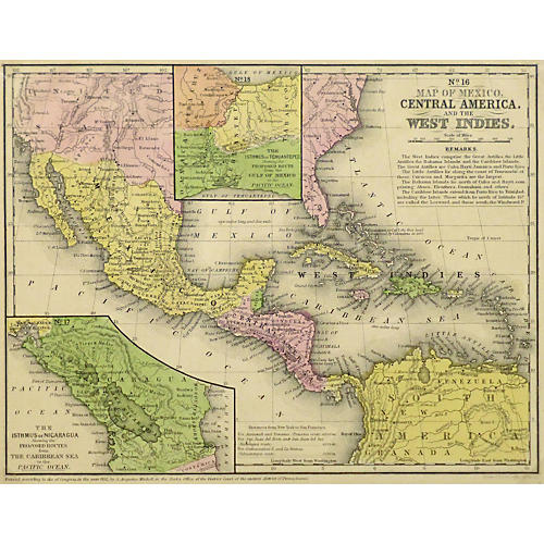 Map of Central America, 1860