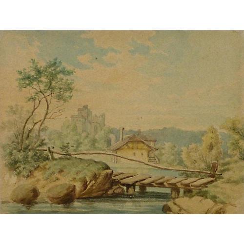 Bridge Watercolor, C. 1890