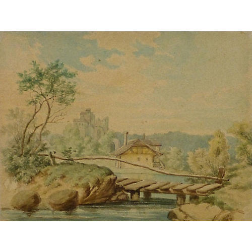 Bridge Watercolor, C. 1890