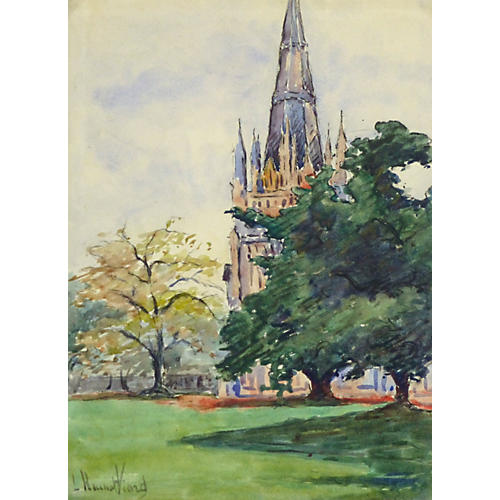 French Cathedral Watercolor, C. 1910