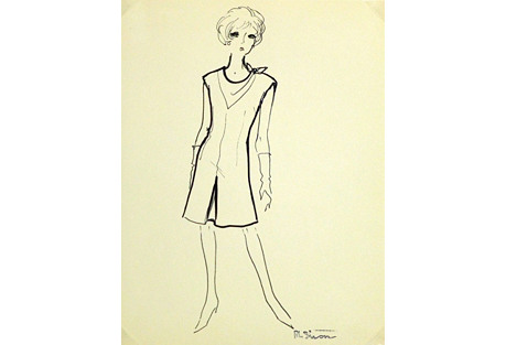 Mod  Fashion Sketch, C. 1960