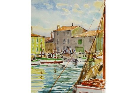 La Rochelle Port Watercolor, C. 1950