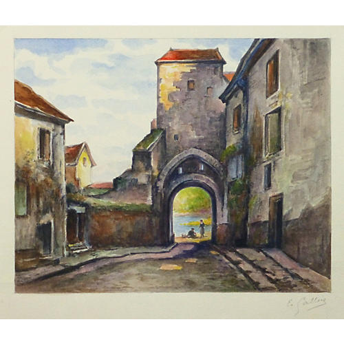City Gates Watercolor, C. 1930