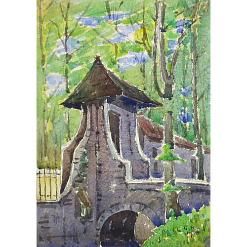 Estate Gates Watercolor, 1918