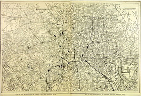 Black & White Map of London, C. 1900