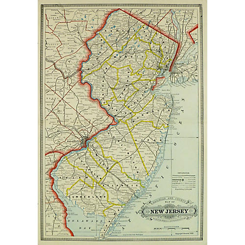 Map of New Jersey, C. 1890