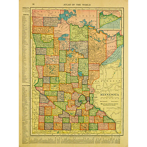 Map of Minnesota, C. 1900
