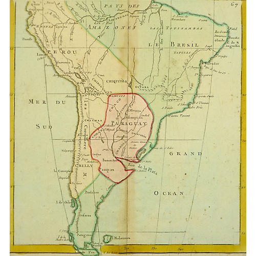 Map of South America, 1783