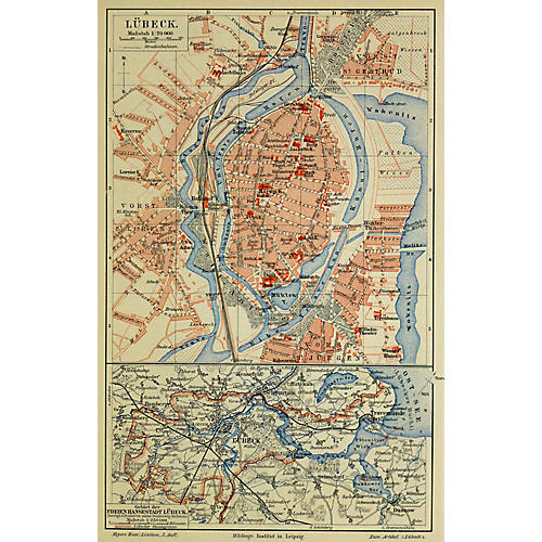 Map of Lübeck, Germany, 1880