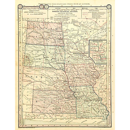 Antique Map Central USA, 1889