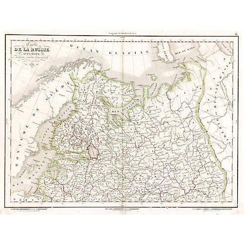 Antique Map of European Russia, 1836
