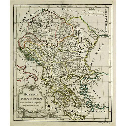 Antique Map of Hungary & Balkans, 1778