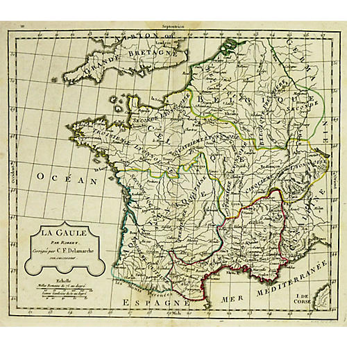 Antique Map France, 1806