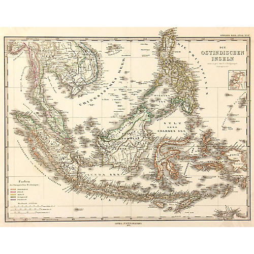 Antique Map of Indonesia, 1873