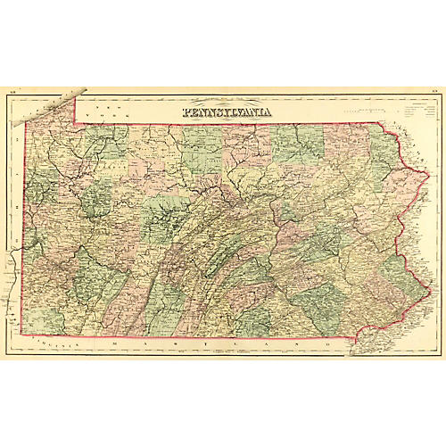 Antique Map of Pennsylvania, 1875
