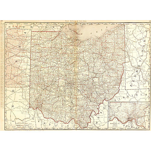 Map of Ohio Counties & Railroads, 1895