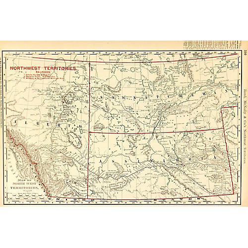 Northwest Territories Canada Map, 1895