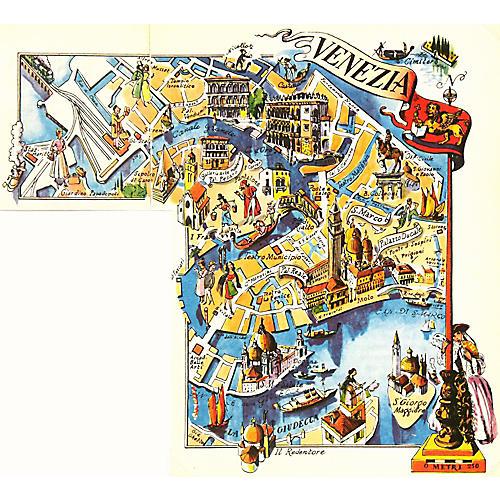 Map of Venice, Italy, 1950