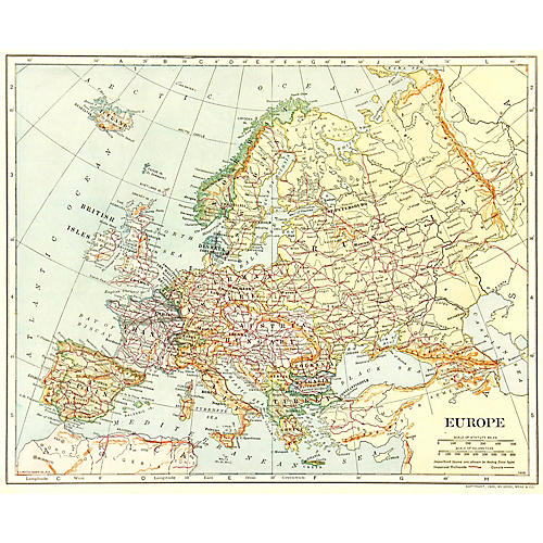 Map of Europe, 1906