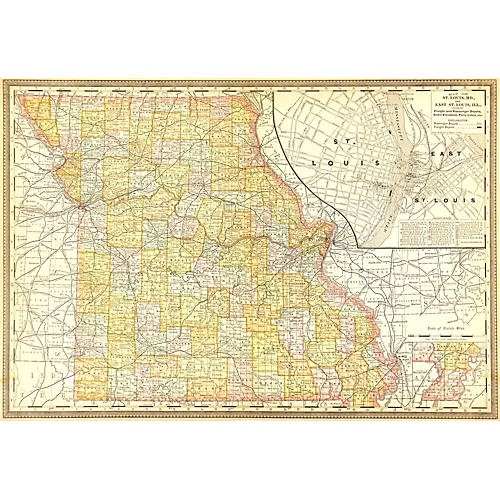 Map of Missouri, 1888