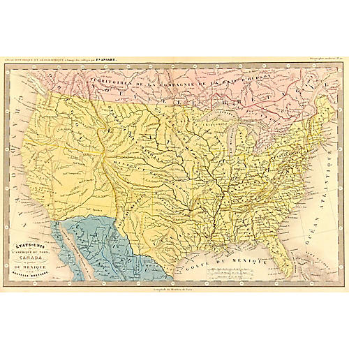 Map of United States, 1848