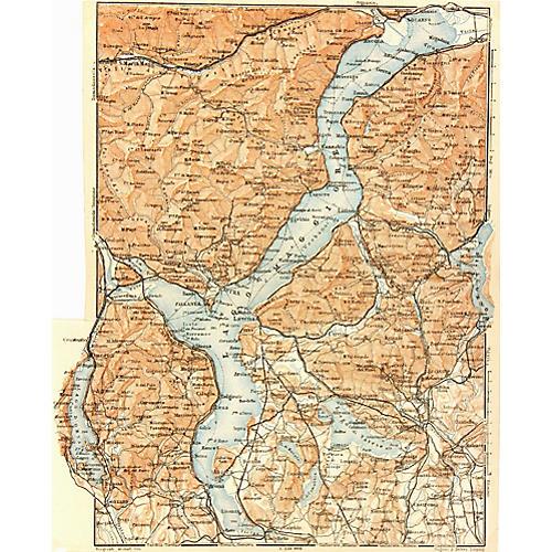 Lago di Maggiore, Italy Map, 1928