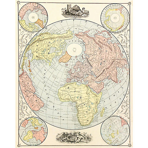 World Map & North Pole, 1890
