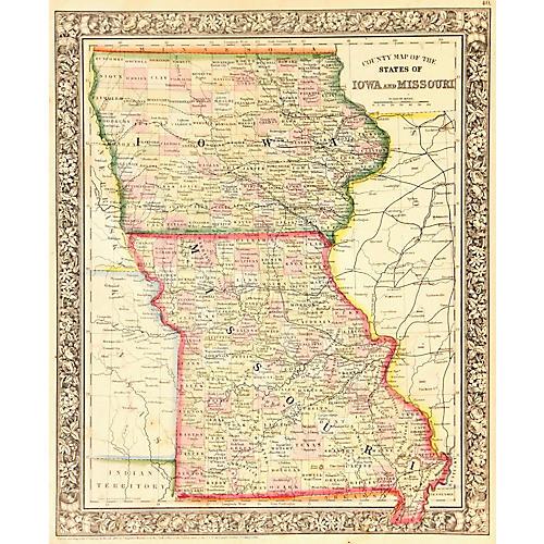 Iowa & Missouri Map, 1861
