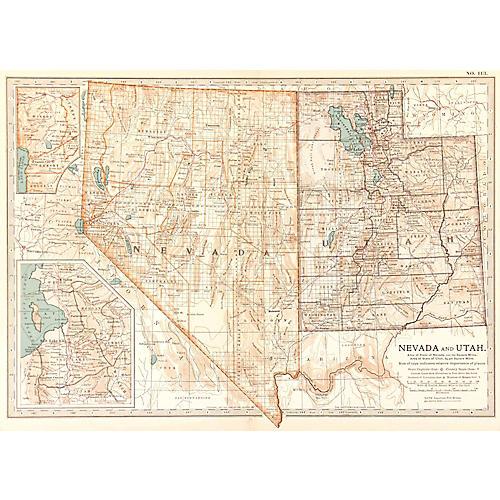 Map of Nevada & Utah, 1902