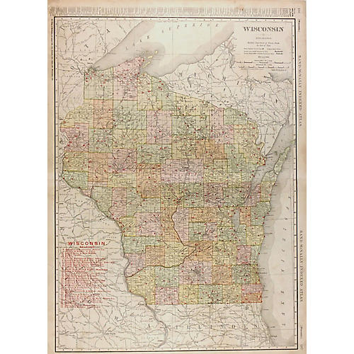Wisconsin Map, 1906