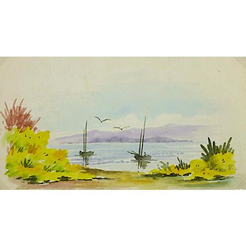 Sailboats on Horizon, C. 1970