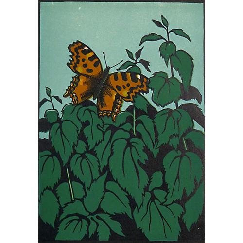 Butterfly Woodcut, C. 1900