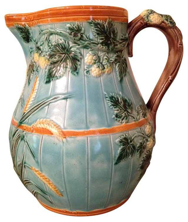 Turquoise Majolica Pitcher