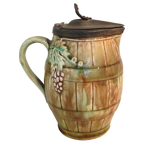 English Majolica Pitcher w/ Pewter Lid