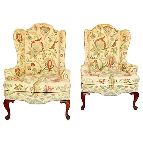 Crewelwork Wing Chairs, Pair