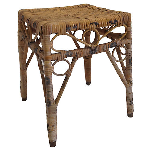 French Woven Rattan Stool