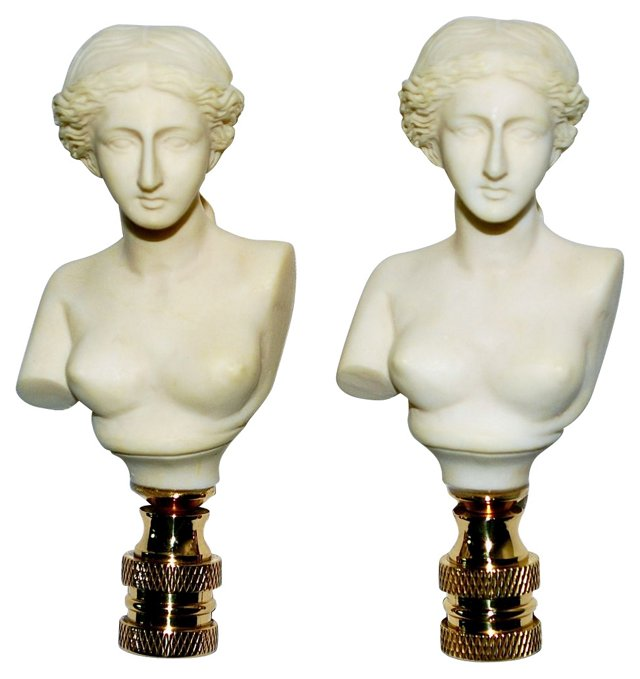Women Lamp Finials, Pair