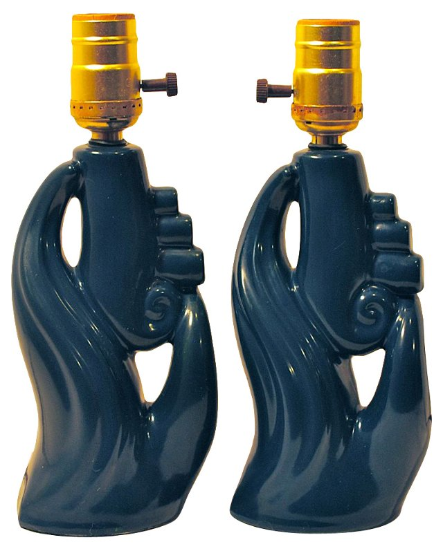 Deep Blue Modern Lamps, Pair