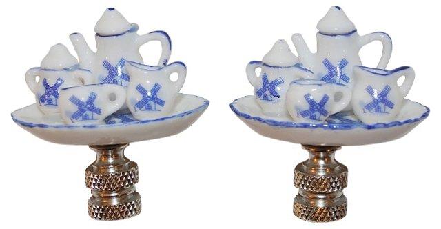 Blue & White Tea Service Finials, Pair