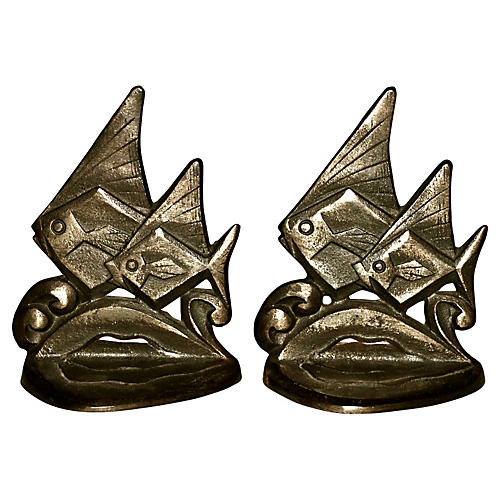 Tropical Angel Fish Bookends, Pair