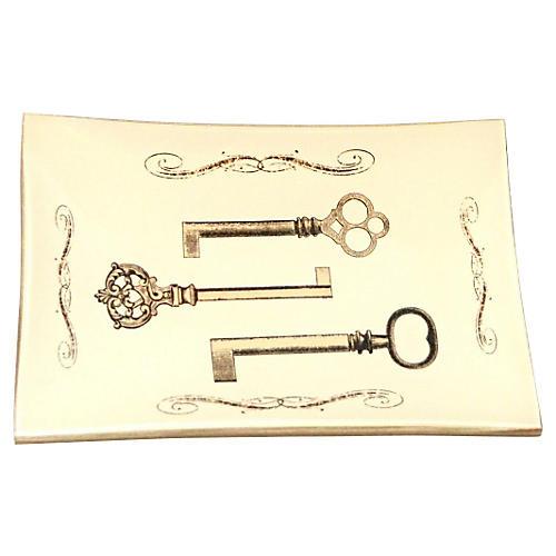 Three Keys w/ Scrolls Convex Hall Dish