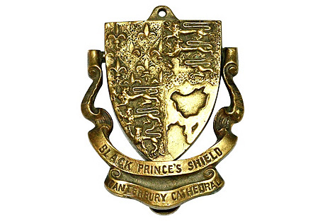 1920s Black Prince's Shield Door Knocker