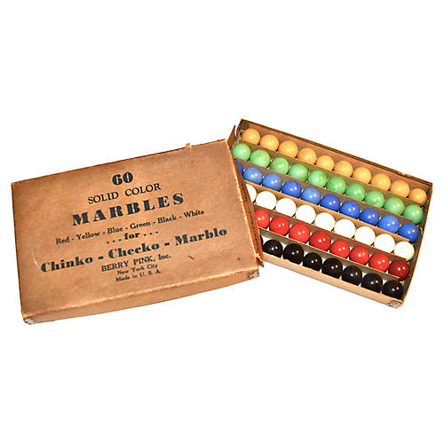 1940s Box of 60 Marbles