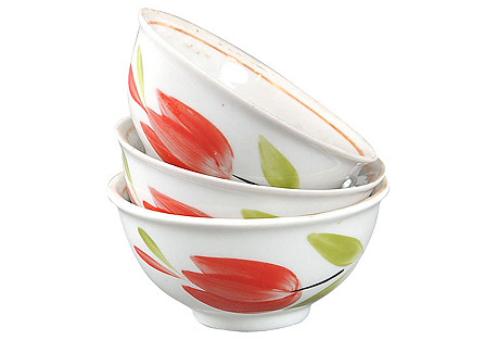 Russian Tulip Bowls, S/3
