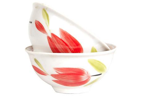 Tulip Russian Porcelain Bowls, Pair
