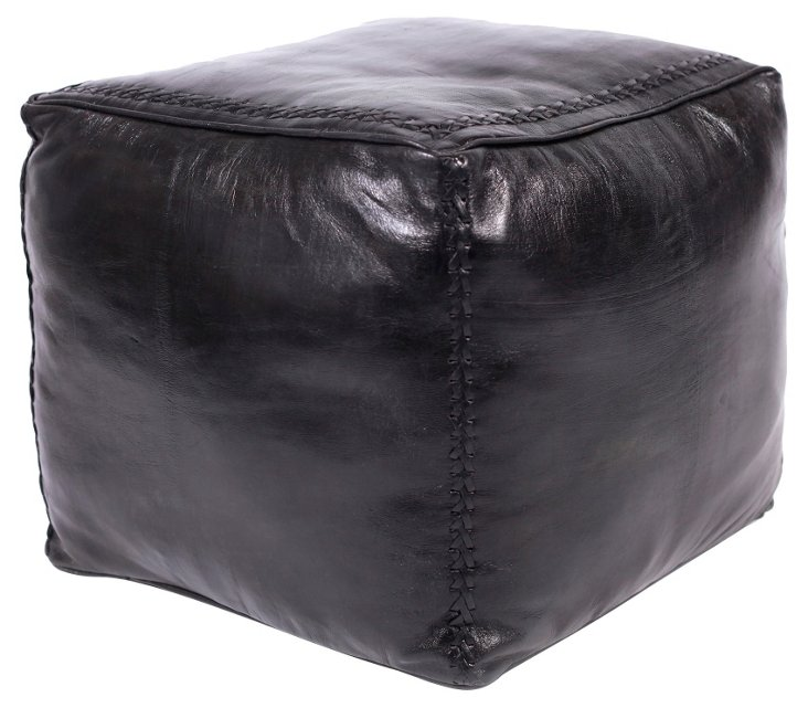 Black Braid-Stitched Leather Pouf