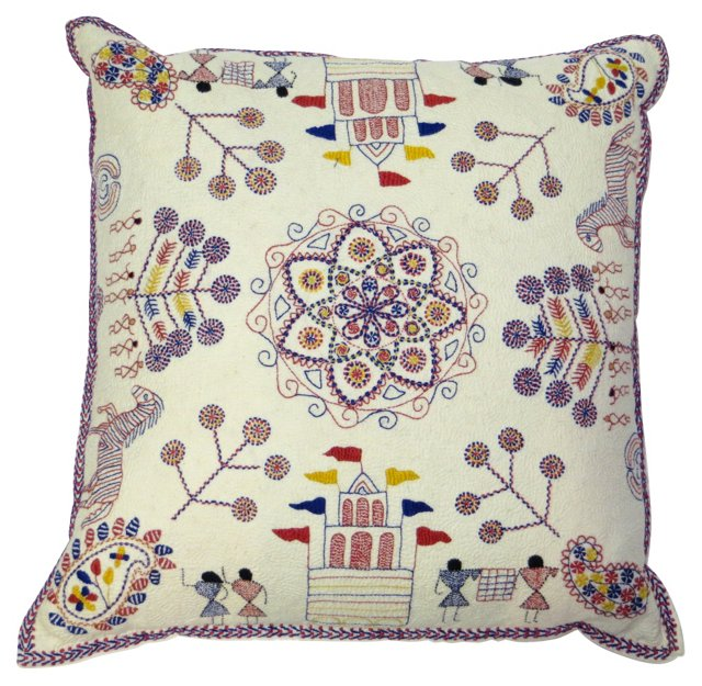 Indian  Kantha Embroidered Pillow