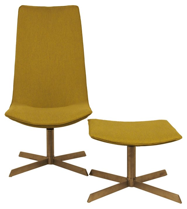 Midcentury Swivel Chair & Ottoman