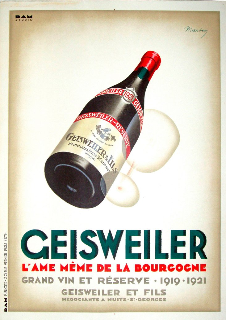 1920s Geisweiler Wine Poster