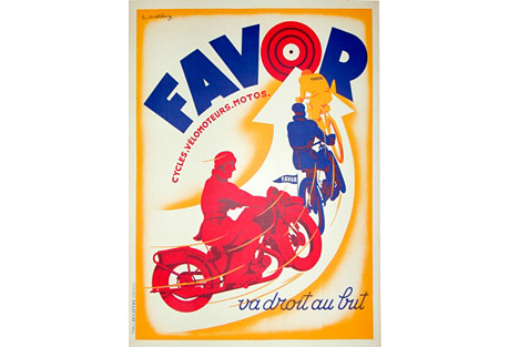 1920s French Motorcycle Poster